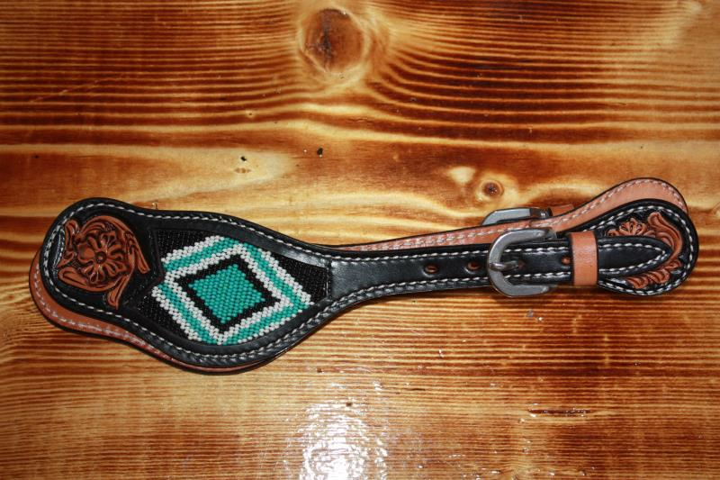 Image #0 (Oxbow - Beaded Spur Straps with Teal Diamond)