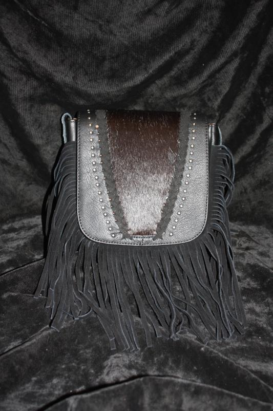 MW Hair-On Crossbody - Black with Dots