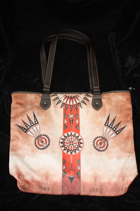 MW Printed Cotton Wide Tote - Aztec