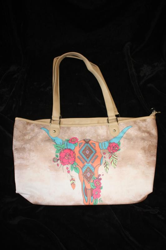 MW Printed Cotton Wide Tote - Steer Skull