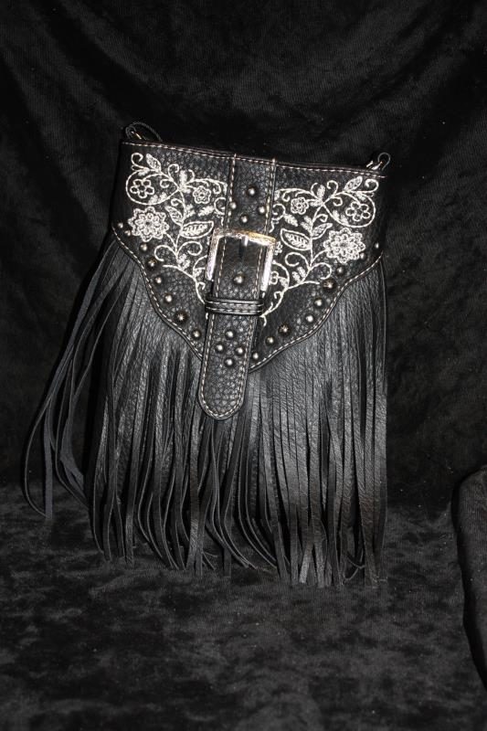 American Bling Crossbody - Black Embroidered