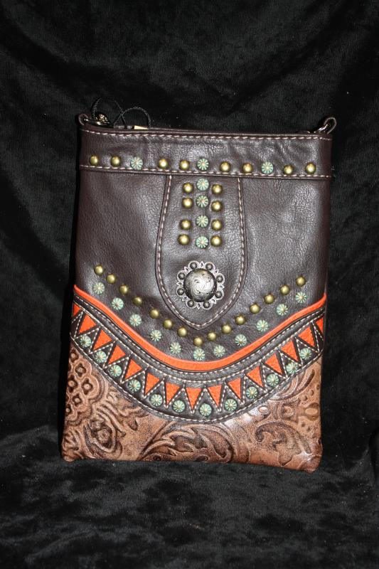 American Bling Crossbody - Brown with Dots