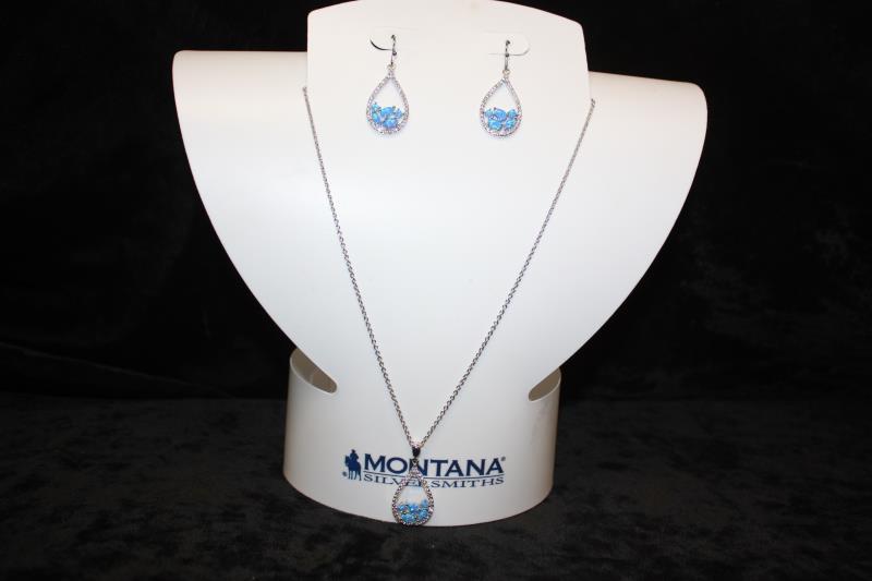 Montana Silversmiths - Teardrop Blue Stone Set
