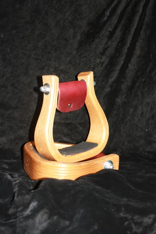 Wooden Stirrups with Rubber Tread