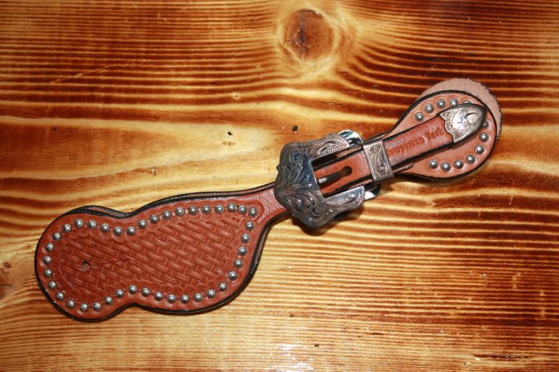 Cowperson Tack - Silver Buckle and Dots - Spur Straps